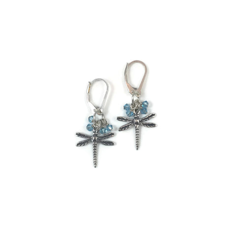 Silver Dragonfly Charm with Crystal Bobble Earrings