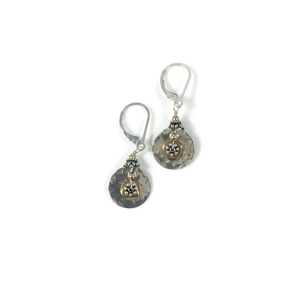 Silver and Brass Everyday Disk Earrings