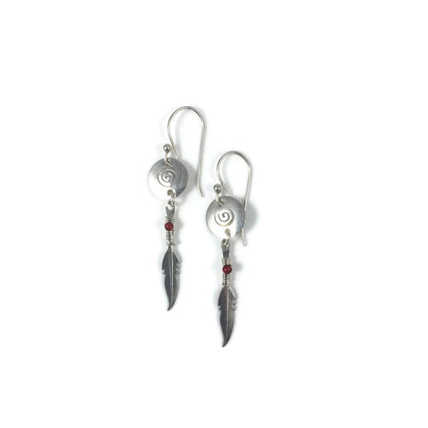 Small Silver Swirl Disk Earrings with Sweet Feather & Carnelain Drop