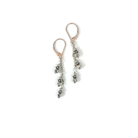 Triple Silver Drop Earrings