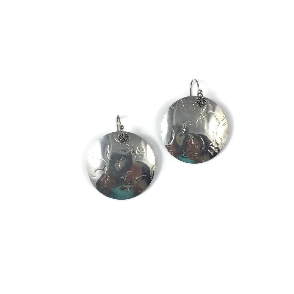 XL Silver Disk Earrings
