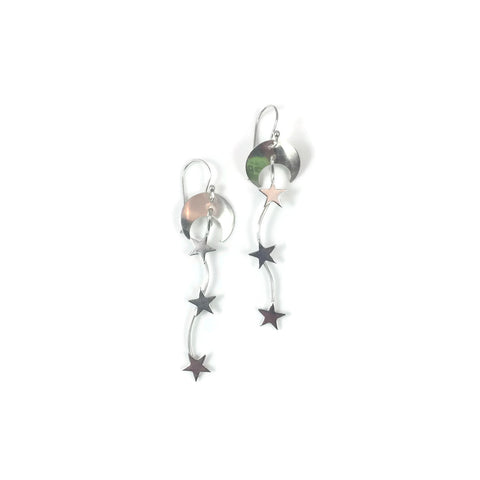 Silver Celestial Moon & Star Earrings