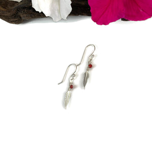 Silver Feather Earrings w/Tiny Stone
