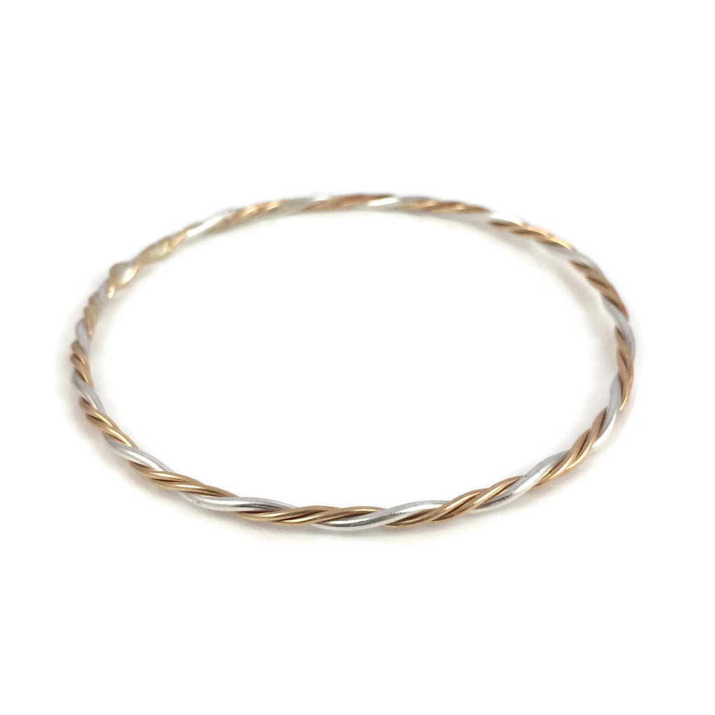 Gold & Silver Triple Twisted Bangle
