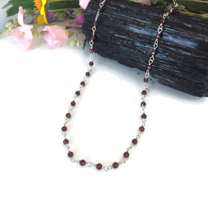Faceted Garnet Bead Link Necklace