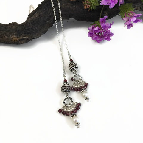 Garnet and Pearl Lariat