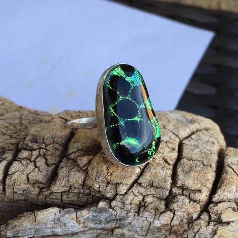 Green Giraffe Glass Ring