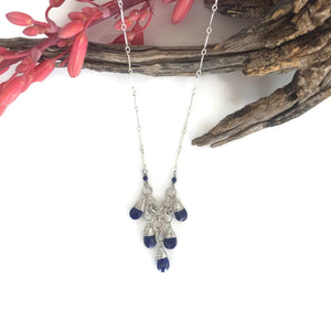 Lapis Briolette Waterfall Necklace