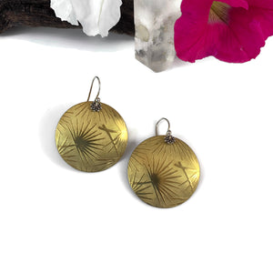 Large Brass Sunburst Disk Earrings