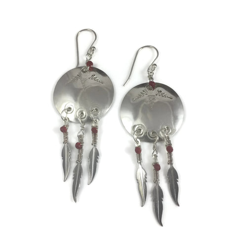 Shield Earrings w/ Triple Feather Dangles