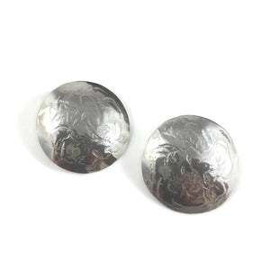 XL Silver Domed Disk Post Earrings