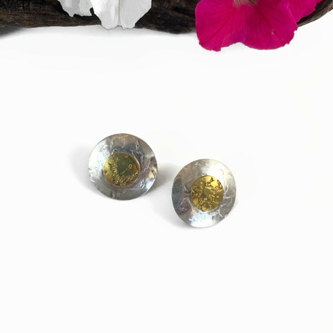 Large Silver & Brass Post Earrings