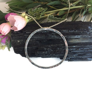 Large Silver Ring Necklace