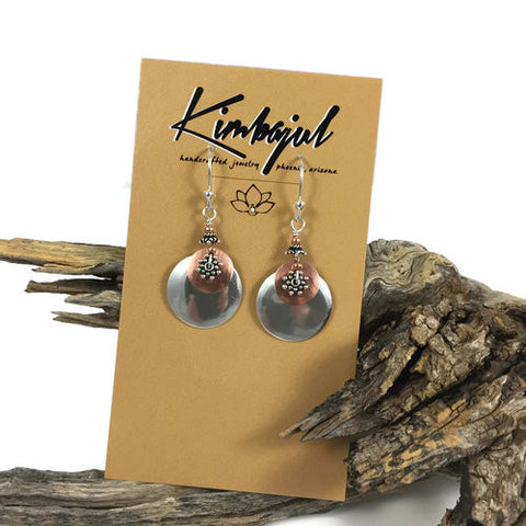 Silver & Copper Layered Disk Earrings