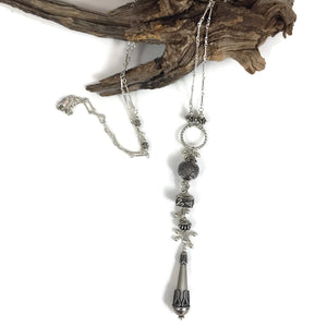 Long Cascade Silver Necklace