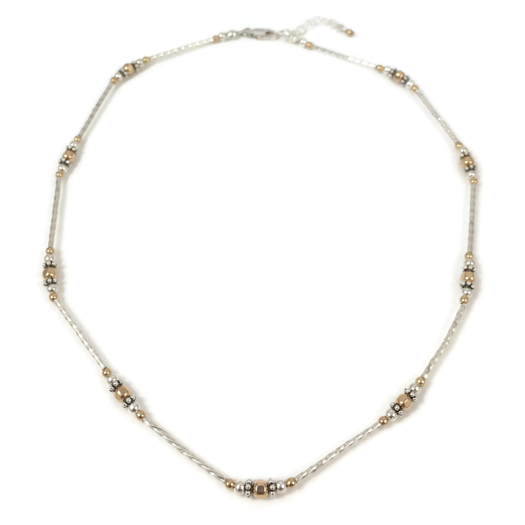 Silver & Gold Twist Bead Choker Necklace