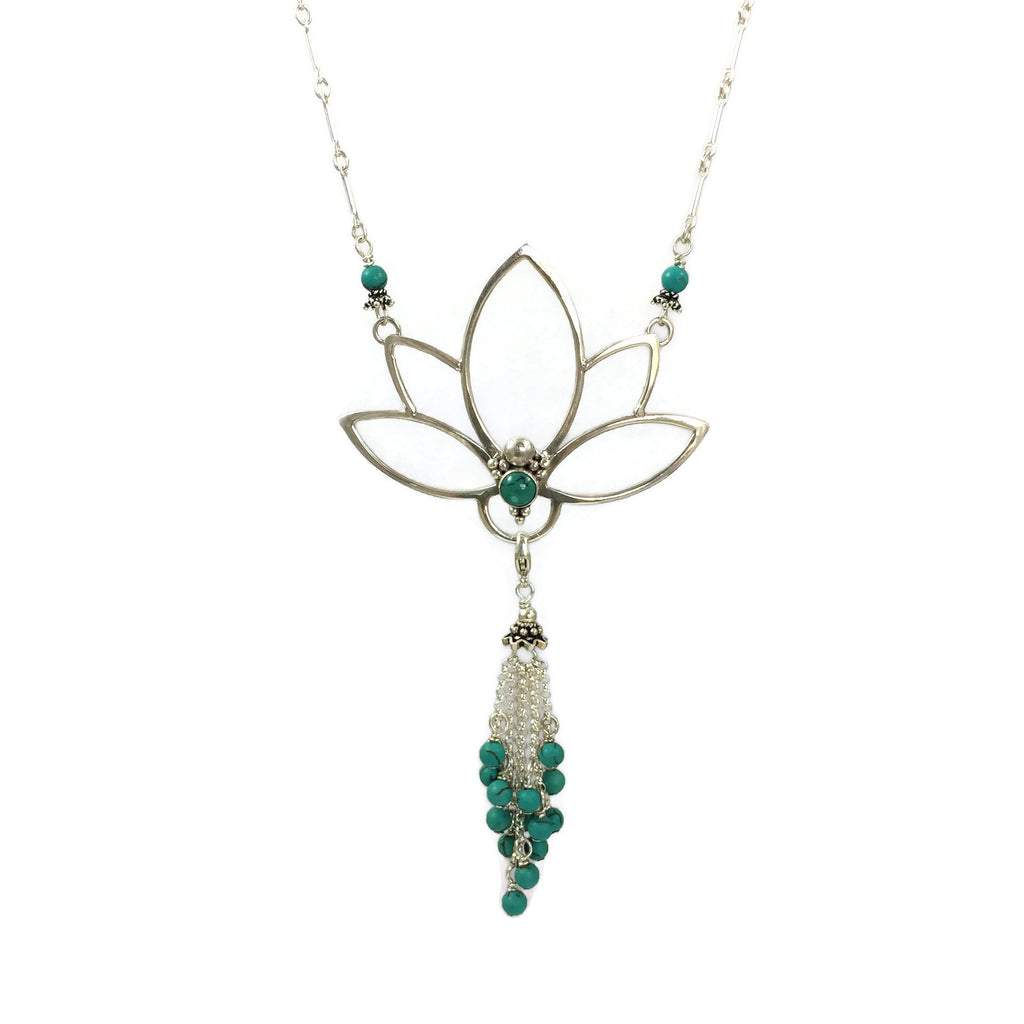 Turquoise Lotus Necklace With Tassel