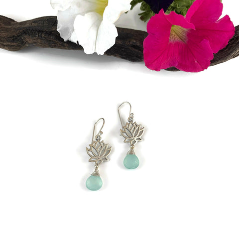 Silver Lotus Flower w/ Briolette Drop Earrings