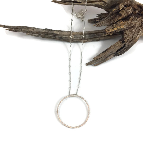 Textured Silver Circle Necklace