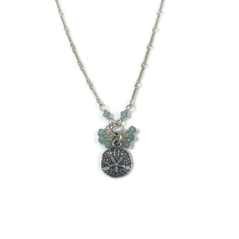 Sand Dollar Crystal Bobble Silver Necklace