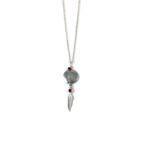 Silver Swirl Disk Necklace with Red Coral Feather drop