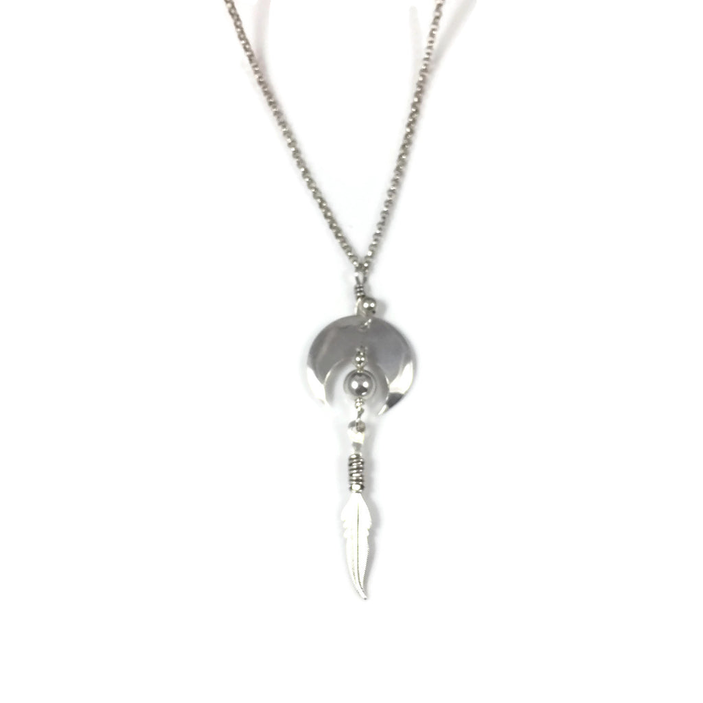 Flying Feather Silver Necklace