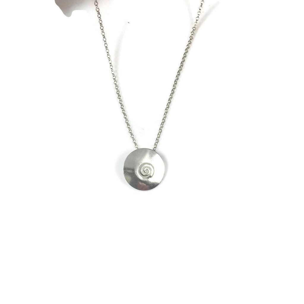 Silver Swirl Disk Necklace