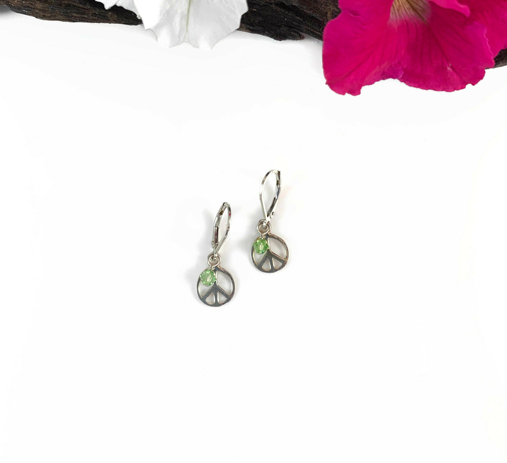 Silver Peace Charm Earrings