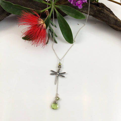 Dragonfly with Peridot Briolette  Drop
