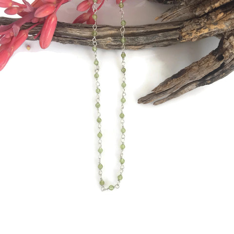 Faceted Peridot Round Bead Choker