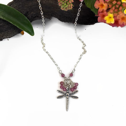 Pink Tourmaline Dragonfly Bobble Necklace
