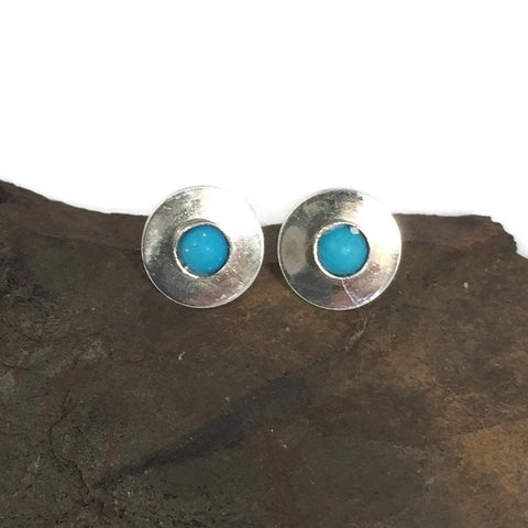 Small Silver Turquoise Post Earrings