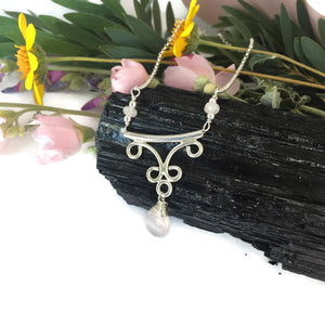 Rose Quartz Swirl Butterfly with Briolette Drop Necklace