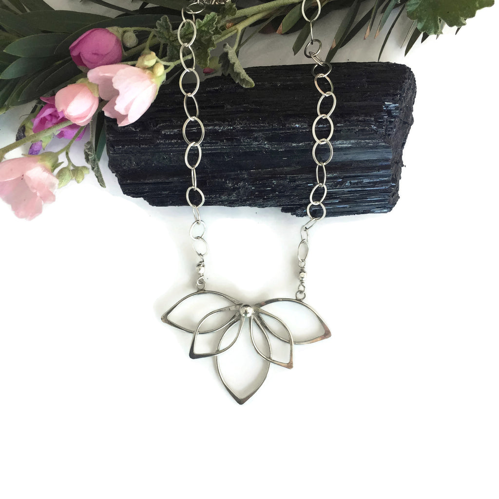 Reversed Silver Lotus Statement Necklace