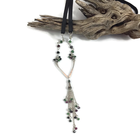 Ruby in Zoisite Leather Necklace