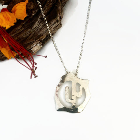 Rugged Silver Saguaro Necklace