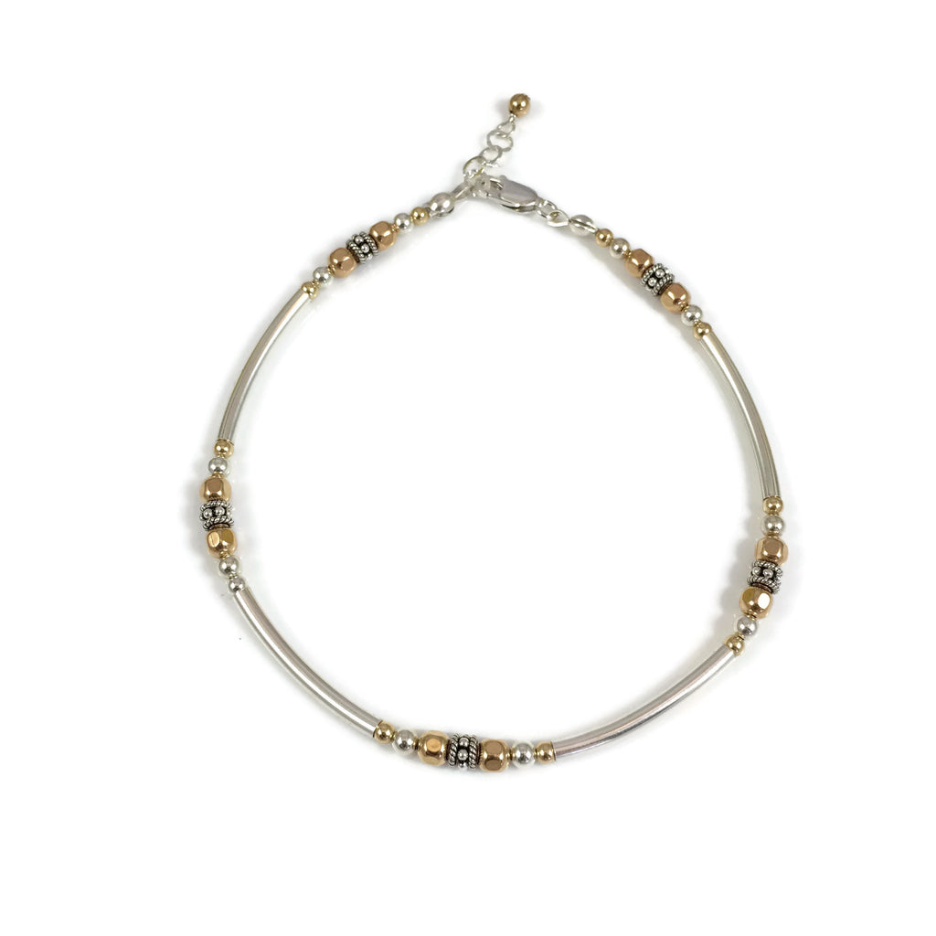 Bent Tube Anklet W/ Silver & Gold