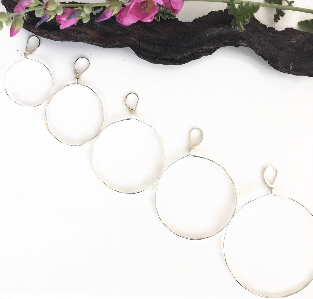 Silver Dangling Hoops with Lever Back Earwires