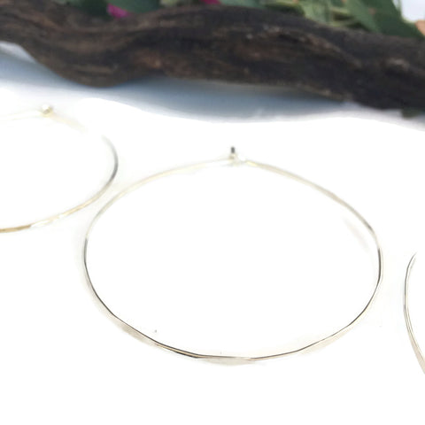 Gold Filled Hammered Endless Hoops