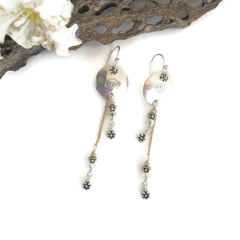 Silver Disk Chain Drop Earrings