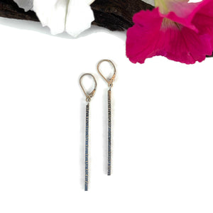 Silver Swirl Long Bar Earrings