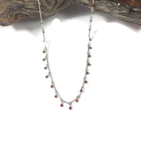 Tiny Carnelian Dangle Necklace