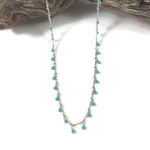 Tiny Turquoise Dangle Necklace