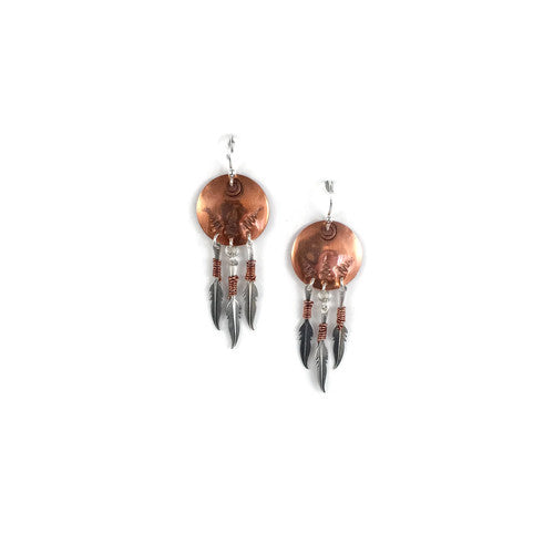 Triple Feather Copper Shield Earrings