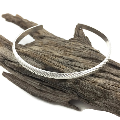 Twisted Half Dome Silver Cuff Bracelet
