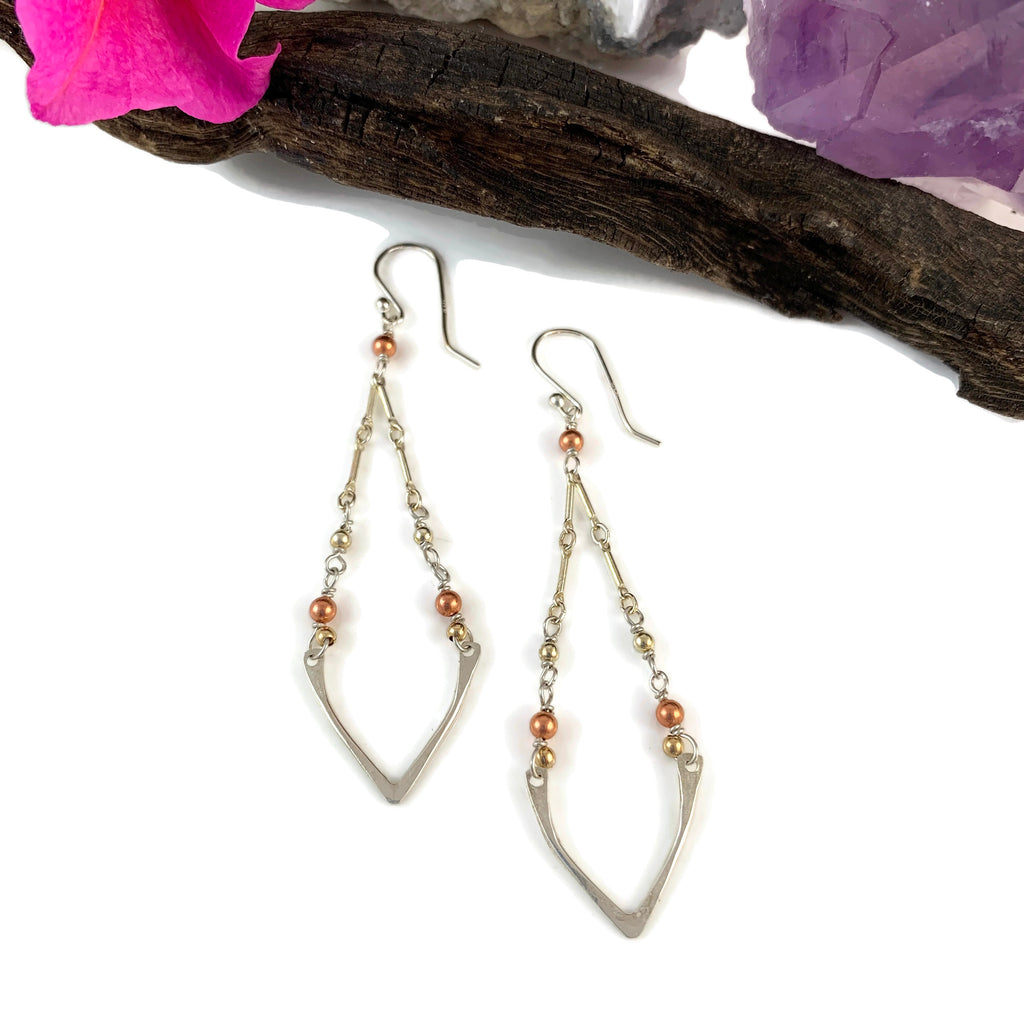 Multi Metal Dangling Chain V Earrings