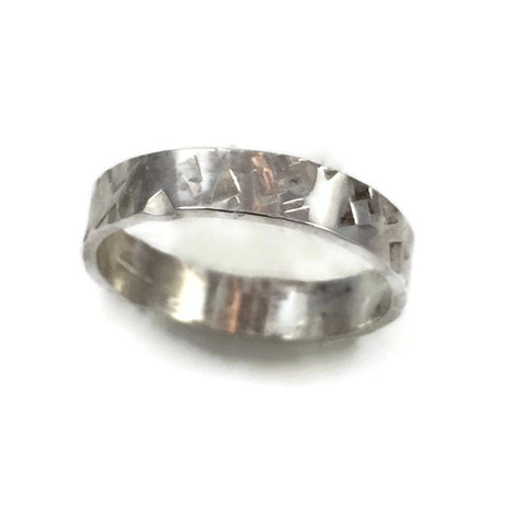 Wide Diamond Textured Band