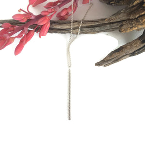 Long Silver Zig Zag Bar Necklace