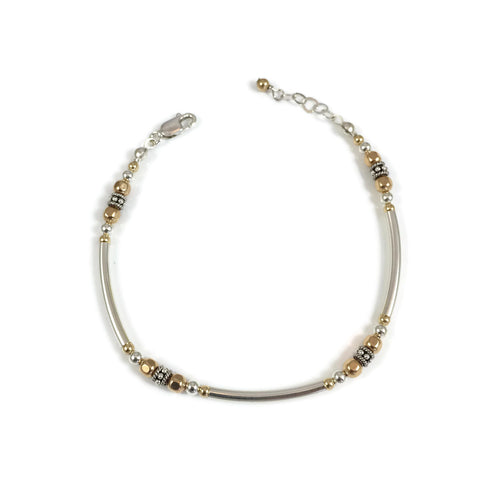 Bent Tube Silver & Gold Bracelet