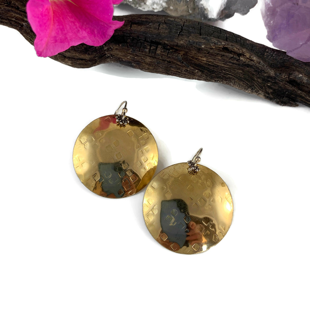 XL Brass Hammered Disk Earrings